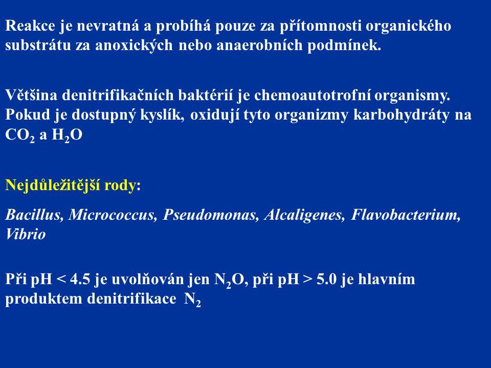 Reakce je nevratná a probíhá pouze za přítomnosti organického substrátu za anoxických nebo anaerobních podmínek. Většina denitrifikačních baktérií je