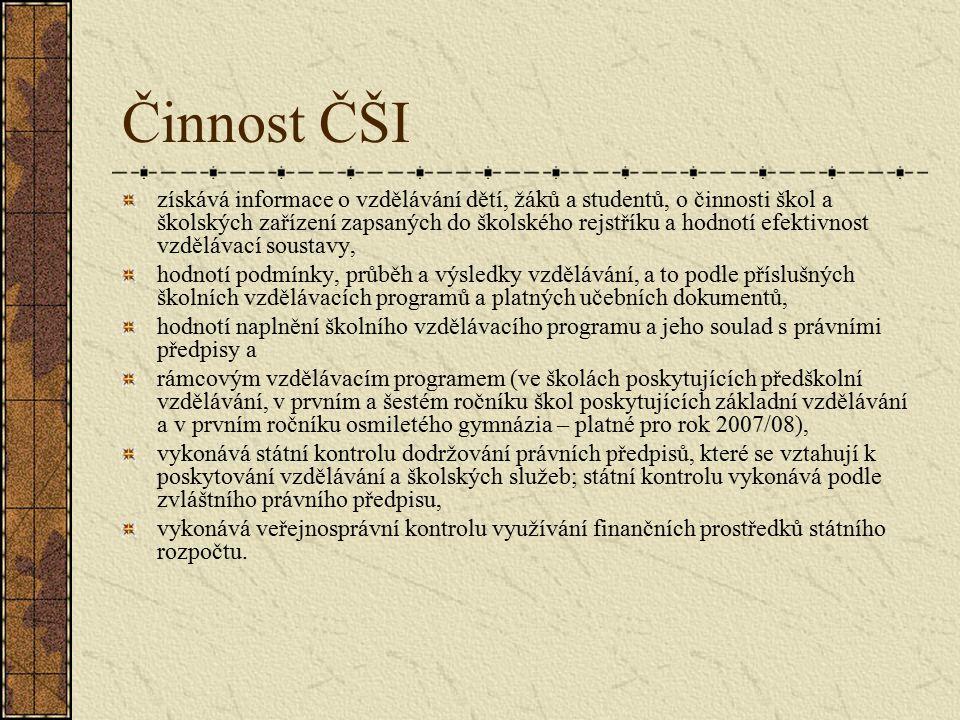 Česká školní inspekce Správní úřad s celostátní působností, organizační složka státu.