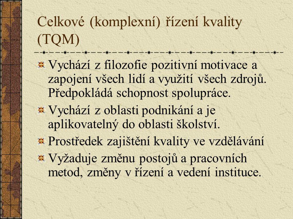 Celkové (komplexní) řízení kvality (TQM) Vychází z filozofie pozitivní motivace a zapojení všech lidí a využití všech zdrojů.
