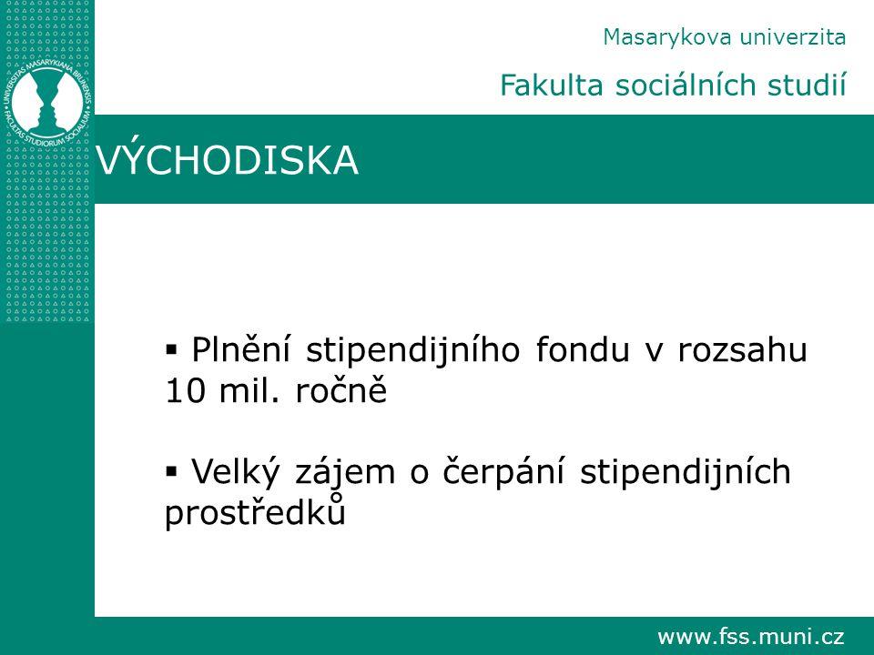 www.fss.muni.cz Masarykova univerzita Fakulta sociálních studií VÝCHODISKA  Plnění stipendijního fondu v rozsahu 10 mil. ročně  Velký zájem o čerpán