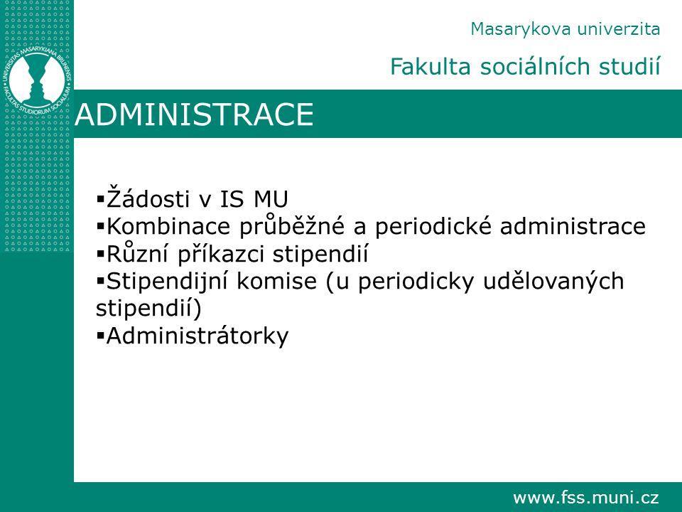 www.fss.muni.cz Masarykova univerzita Fakulta sociálních studií ADMINISTRACE  Žádosti v IS MU  Kombinace průběžné a periodické administrace  Různí