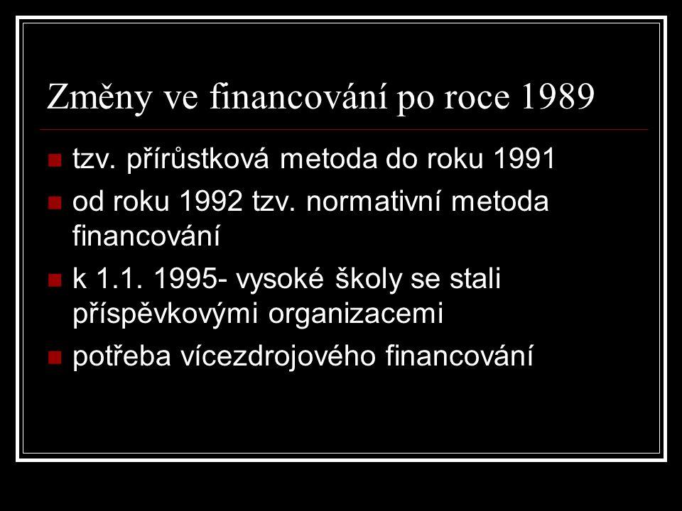 Změny ve financování po roce 1989 tzv. přírůstková metoda do roku 1991 od roku 1992 tzv.