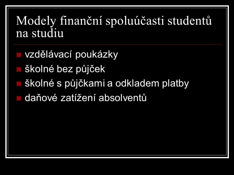Modely finanční spoluúčasti studentů na studiu vzdělávací poukázky školné bez půjček školné s půjčkami a odkladem platby daňové zatížení absolventů