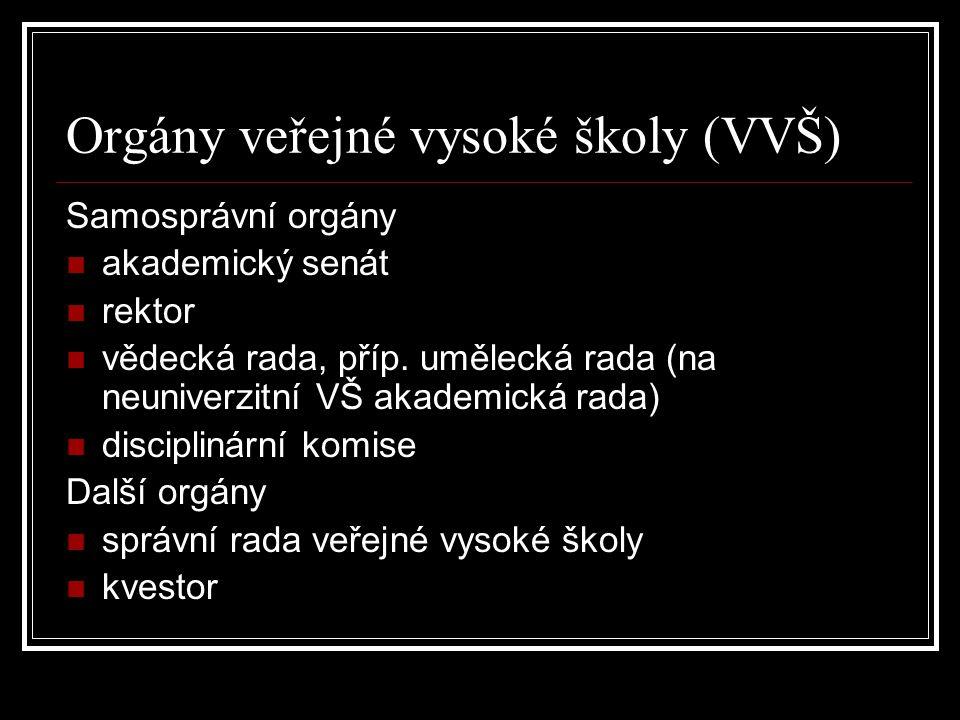 Orgány veřejné vysoké školy (VVŠ) Samosprávní orgány akademický senát rektor vědecká rada, příp.