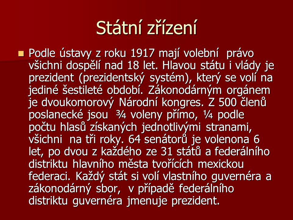 Státní zřízení Podle ústavy z roku 1917 mají volební právo všichni dospělí nad 18 let.