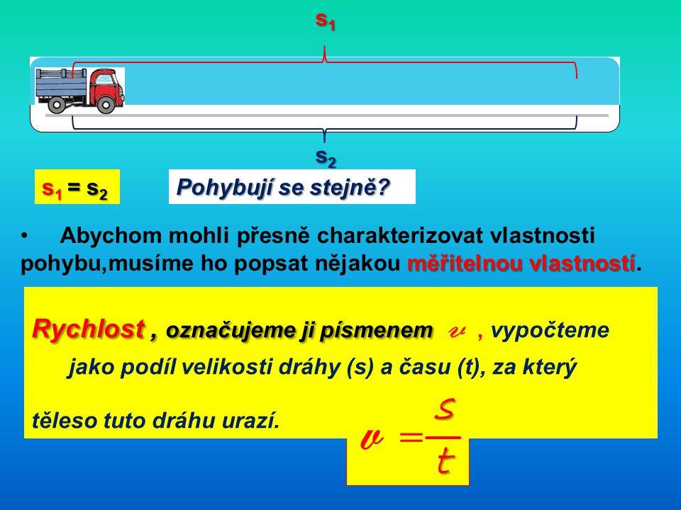 s1s1s1s1 s2s2s2s2 s 1 = s 2 Pohybují se stejně.