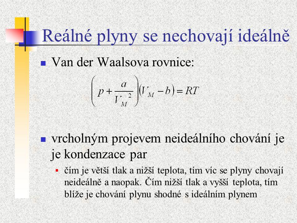 Reálné plyny se nechovají ideálně Van der Waalsova rovnice: vrcholným projevem neideálního chování je je kondenzace par  čím je větší tlak a nižší teplota, tím víc se plyny chovají neideálně a naopak.