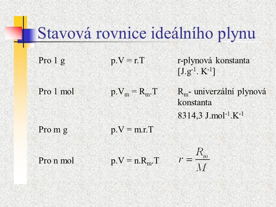 Stavová rovnice ideálního plynu Pro 1 gp.V = r.Tr-plynová konstanta [J.g -1.