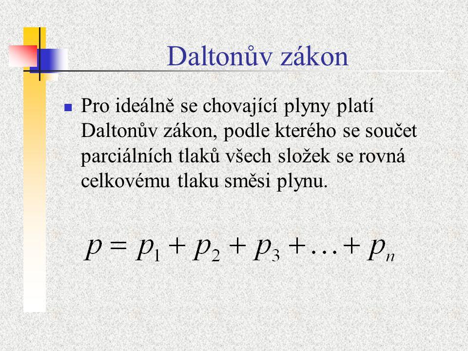 Daltonův zákon Pro ideálně se chovající plyny platí Daltonův zákon, podle kterého se součet parciálních tlaků všech složek se rovná celkovému tlaku směsi plynu.