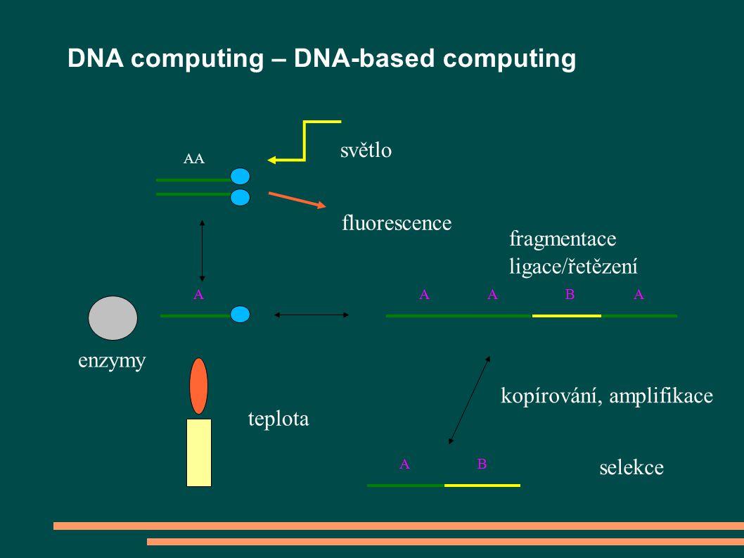 AA A světlo fluorescence teplota ligace/řetězení fragmentace AABA A B kopírování, amplifikace selekce enzymy