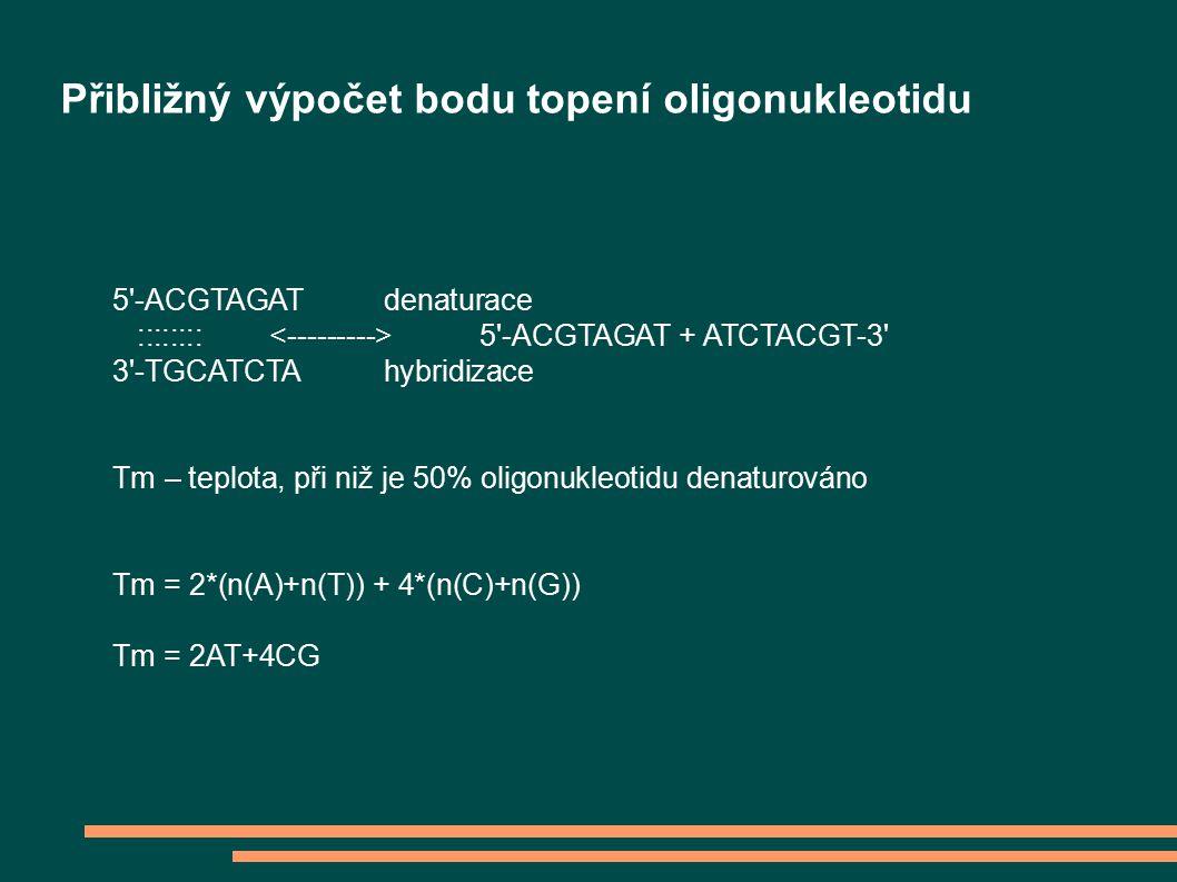 5 -ACGTAGAT denaturace :::::::: 5 -ACGTAGAT + ATCTACGT-3 3 -TGCATCTA hybridizace Tm – teplota, při niž je 50% oligonukleotidu denaturováno Tm = 2*(n(A)+n(T)) + 4*(n(C)+n(G)) Tm = 2AT+4CG Přibližný výpočet bodu topení oligonukleotidu