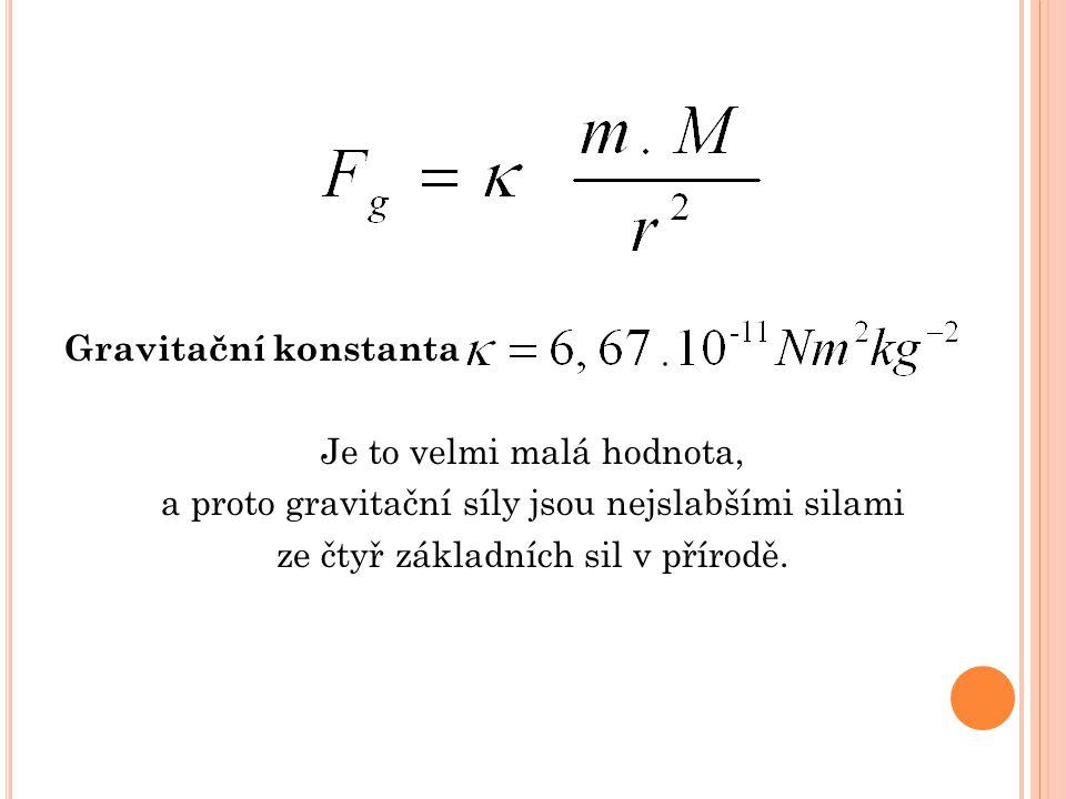 Gravitační konstanta Je to velmi malá hodnota, a proto gravitační síly jsou nejslabšími silami ze čtyř základních sil v přírodě.