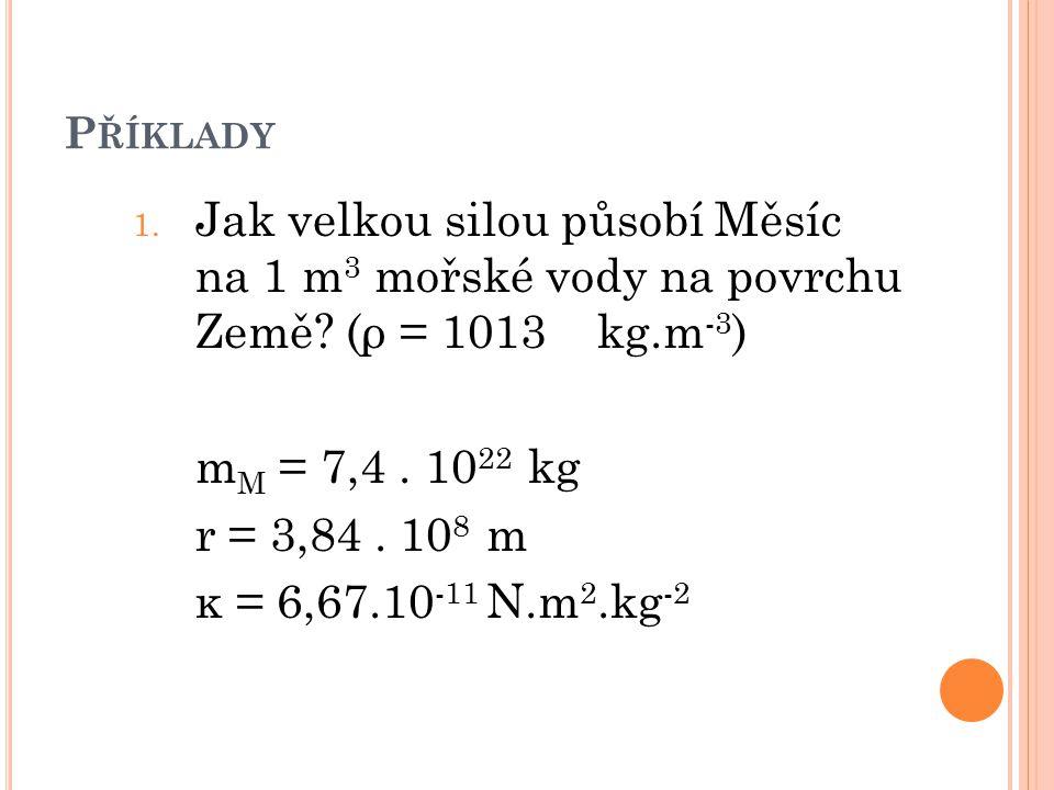 P ŘÍKLADY 1. Jak velkou silou působí Měsíc na 1 m 3 mořské vody na povrchu Země? (ρ = 1013 kg.m -3 ) m M = 7,4. 10 22 kg r = 3,84. 10 8 m κ = 6,67.10