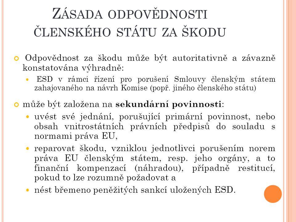 Z ÁSADA ODPOVĚDNOSTI ČLENSKÉHO STÁTU ZA ŠKODU Odpovědnost za škodu může být autoritativně a závazně konstatována výhradně: ESD v rámci řízení pro porušení Smlouvy členským státem zahajovaného na návrh Komise (popř.