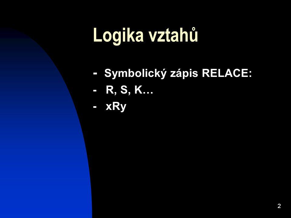 2 Logika vztahů - Symbolický zápis RELACE: - R, S, K… - xRy