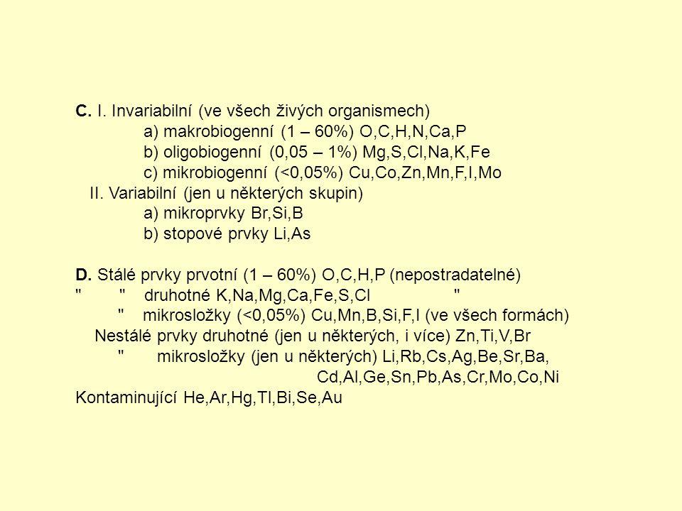 C. I. Invariabilní (ve všech živých organismech) a) makrobiogenní (1 – 60%) O,C,H,N,Ca,P b) oligobiogenní (0,05 – 1%) Mg,S,Cl,Na,K,Fe c) mikrobiogenní