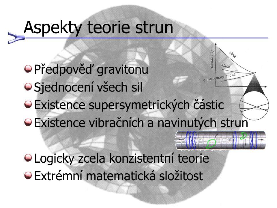 Aspekty teorie strun Předpověď gravitonu Sjednocení všech sil Existence supersymetrických částic Existence vibračních a navinutých strun Logicky zcela