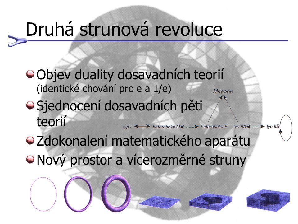 Druhá strunová revoluce Objev duality dosavadních teorií (identické chování pro e a 1/e) Sjednocení dosavadních pěti teorií Zdokonalení matematického