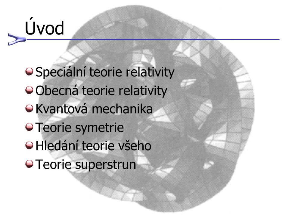 Úvod Speciální teorie relativity Obecná teorie relativity Kvantová mechanika Teorie symetrie Hledání teorie všeho Teorie superstrun