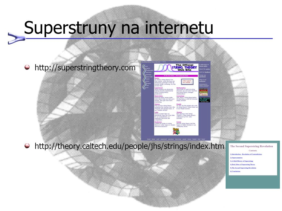 Superstruny na internetu http://superstringtheory.com http://theory.caltech.edu/people/jhs/strings/index.htm