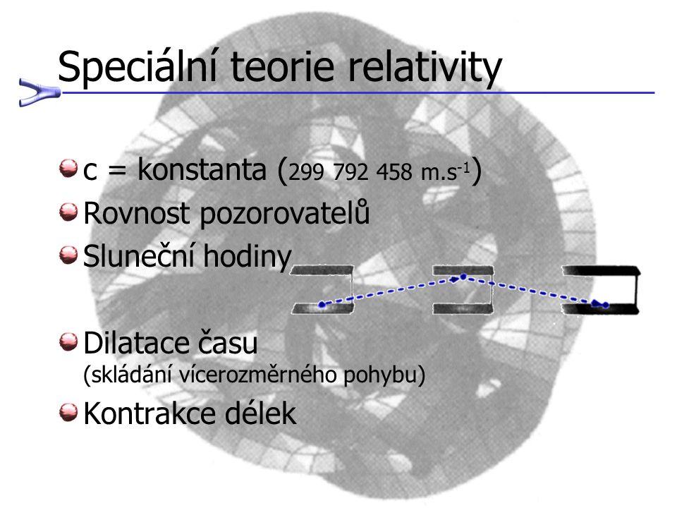 Speciální teorie relativity c = konstanta ( 299 792 458 m.s -1 ) Rovnost pozorovatelů Sluneční hodiny Dilatace času (skládání vícerozměrného pohybu) K