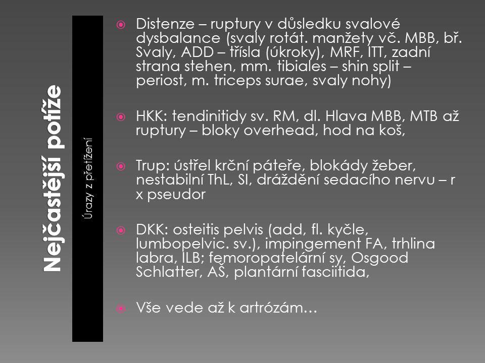 Úrazy z přetížení  Distenze – ruptury v důsledku svalové dysbalance (svaly rotát. manžety vč. MBB, bř. Svaly, ADD – třísla (úkroky), MRF, ITT, zadní