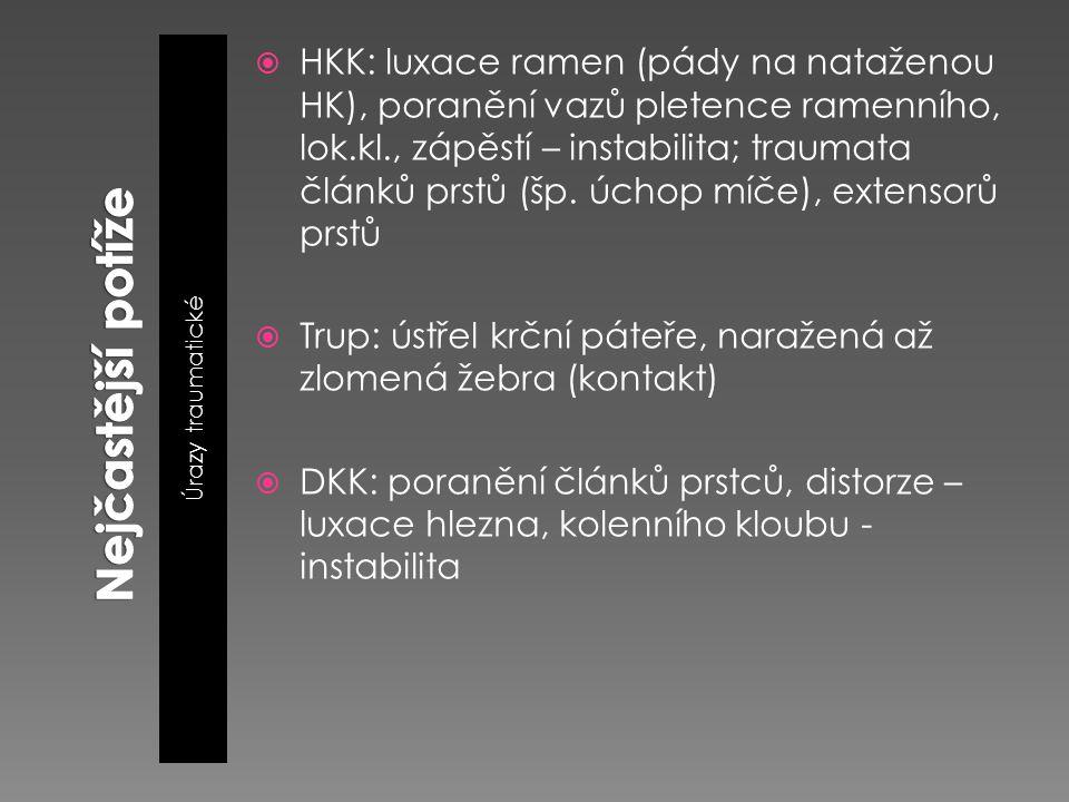 Úrazy traumatické  HKK: luxace ramen (pády na nataženou HK), poranění vazů pletence ramenního, lok.kl., zápěstí – instabilita; traumata článků prstů