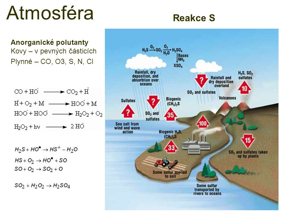 Reakce S Atmosféra Anorganické polutanty Kovy – v pevných částicích Plynné – CO, O3, S, N, Cl