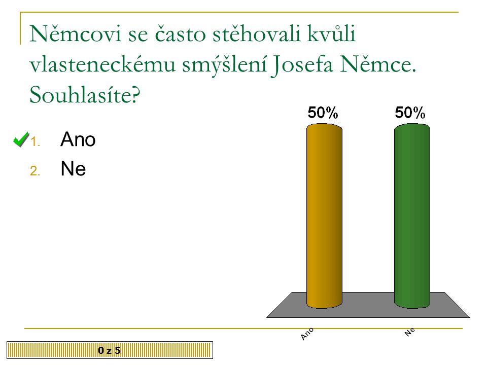 V manželství s Josefem Němcem byla Božena Němcová šťastná. Souhlasíte 1. Ano 2. Ne 0 z 5