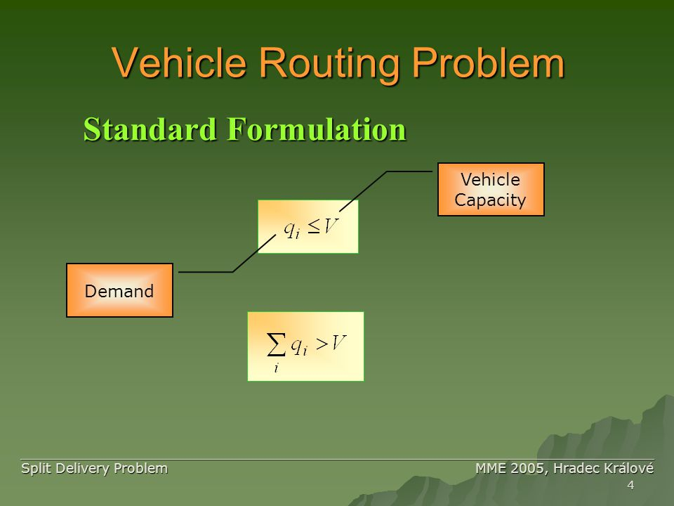 4 ____________________________________________________________________________ ____________________________________________________________________________ Split Delivery Problem MME 2005, Hradec Králové Vehicle Routing Problem Standard Formulation Vehicle Capacity Demand