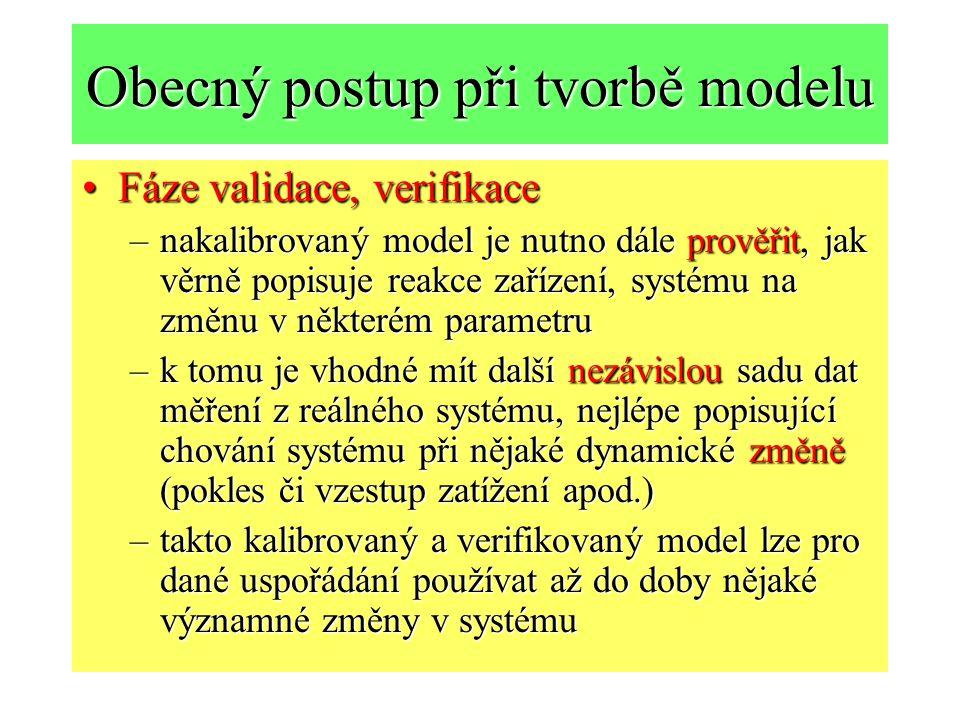 Obecný postup při tvorbě modelu Fáze validace, verifikaceFáze validace, verifikace –nakalibrovaný model je nutno dále prověřit, jak věrně popisuje reakce zařízení, systému na změnu v některém parametru –k tomu je vhodné mít další nezávislou sadu dat měření z reálného systému, nejlépe popisující chování systému při nějaké dynamické změně (pokles či vzestup zatížení apod.) –takto kalibrovaný a verifikovaný model lze pro dané uspořádání používat až do doby nějaké významné změny v systému