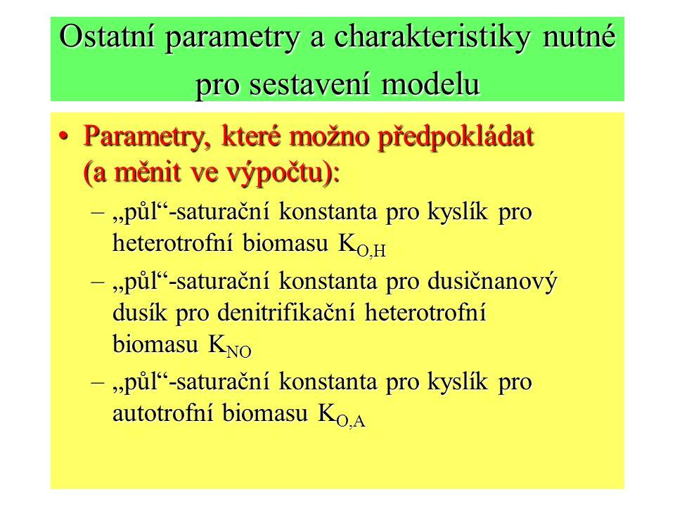 """Ostatní parametry a charakteristiky nutné pro sestavení modelu Parametry, které možno předpokládat (a měnit ve výpočtu):Parametry, které možno předpokládat (a měnit ve výpočtu): –""""půl -saturační konstanta pro kyslík pro heterotrofní biomasu K O,H –""""půl -saturační konstanta pro dusičnanový dusík pro denitrifikační heterotrofní biomasu K NO –""""půl -saturační konstanta pro kyslík pro autotrofní biomasu K O,A"""