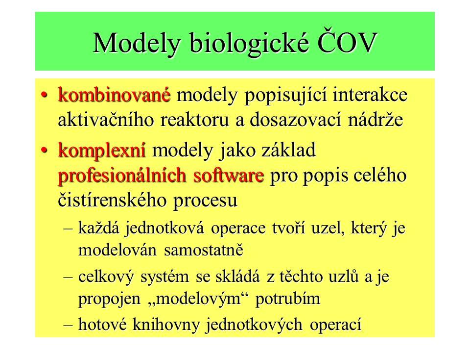"""Modely biologické ČOV kombinované modely popisující interakce aktivačního reaktoru a dosazovací nádržekombinované modely popisující interakce aktivačního reaktoru a dosazovací nádrže komplexní modely jako základ profesionálních software pro popis celého čistírenského procesukomplexní modely jako základ profesionálních software pro popis celého čistírenského procesu –každá jednotková operace tvoří uzel, který je modelován samostatně –celkový systém se skládá z těchto uzlů a je propojen """"modelovým potrubím –hotové knihovny jednotkových operací"""