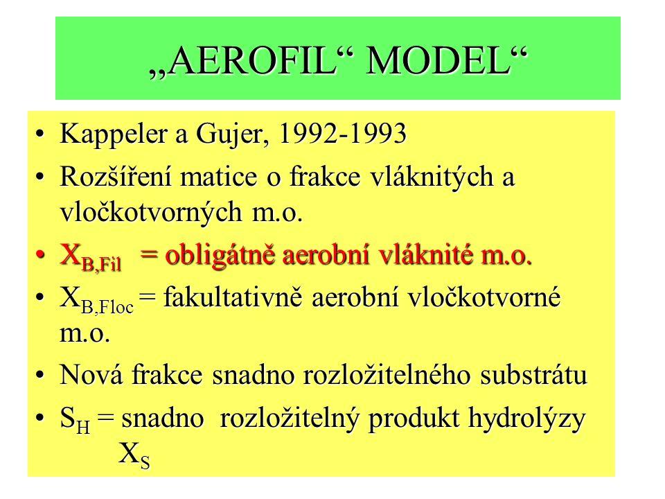 """""""AEROFIL MODEL Kappeler a Gujer, 1992-1993Kappeler a Gujer, 1992-1993 Rozšíření matice o frakce vláknitých a vločkotvorných m.o.Rozšíření matice o frakce vláknitých a vločkotvorných m.o."""