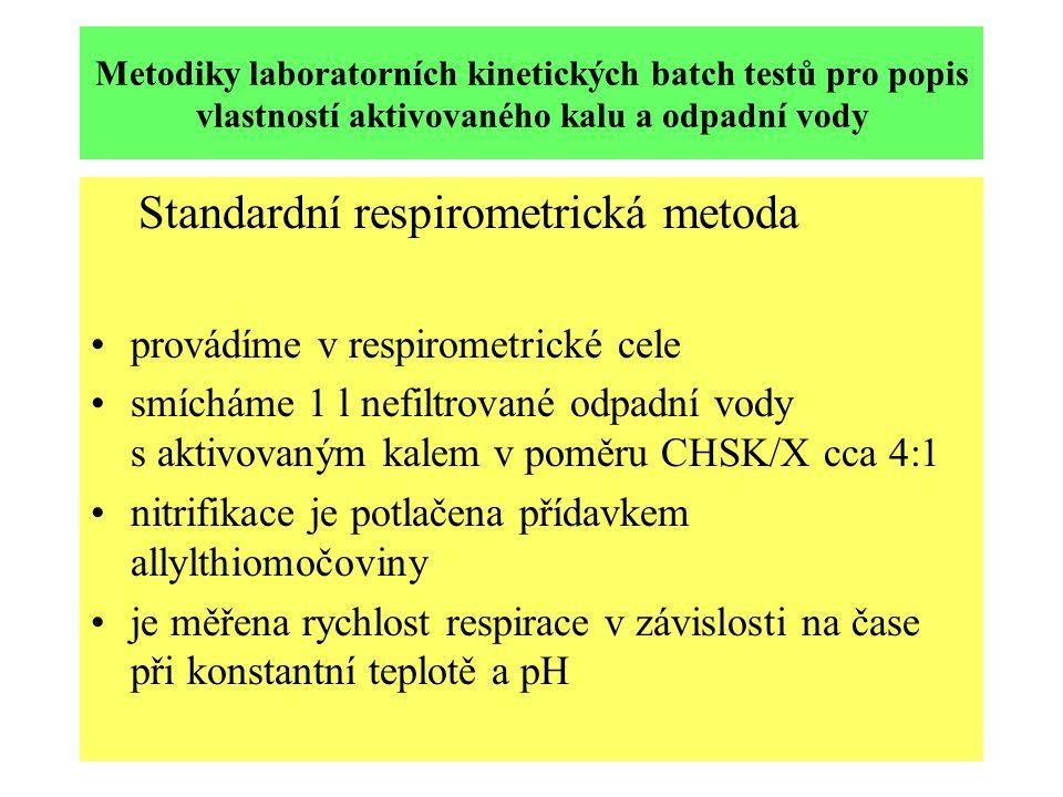 Metodiky laboratorních kinetických batch testů pro popis vlastností aktivovaného kalu a odpadní vody Standardní respirometrická metoda provádíme v respirometrické cele smícháme 1 l nefiltrované odpadní vody s aktivovaným kalem v poměru CHSK/X cca 4:1 nitrifikace je potlačena přídavkem allylthiomočoviny je měřena rychlost respirace v závislosti na čase při konstantní teplotě a pH