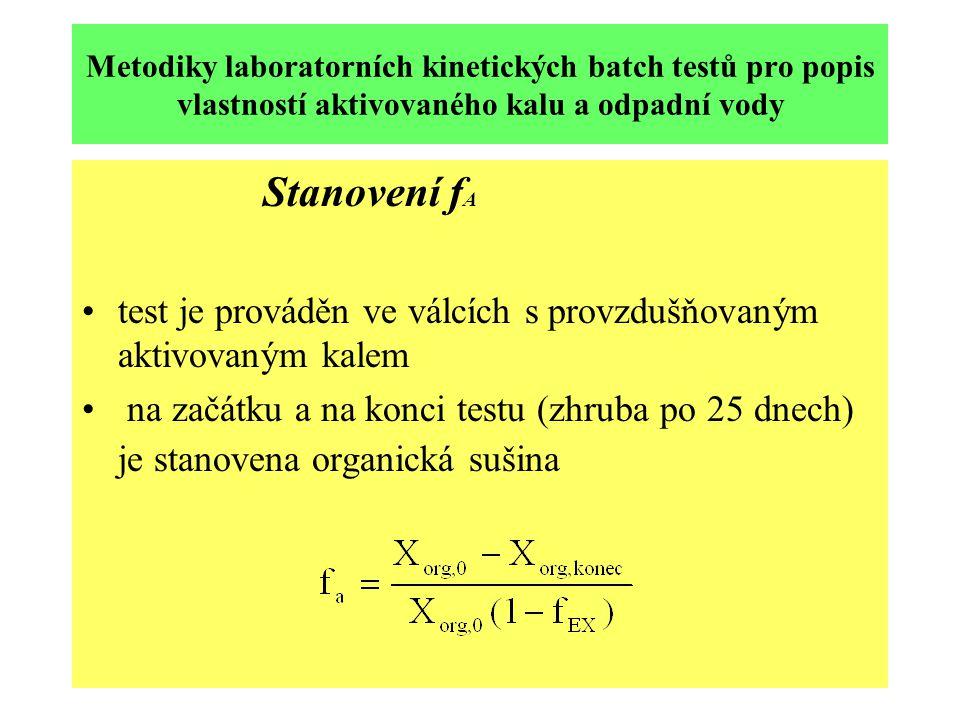 Metodiky laboratorních kinetických batch testů pro popis vlastností aktivovaného kalu a odpadní vody Stanovení f A test je prováděn ve válcích s provzdušňovaným aktivovaným kalem na začátku a na konci testu (zhruba po 25 dnech) je stanovena organická sušina