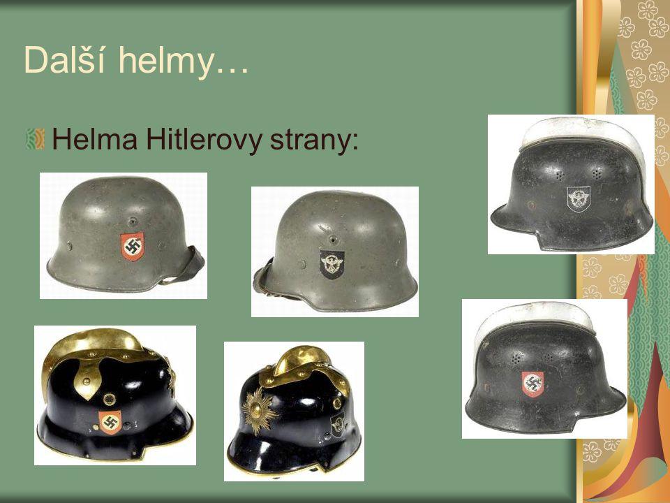 Další helmy… Helma Hitlerovy strany: