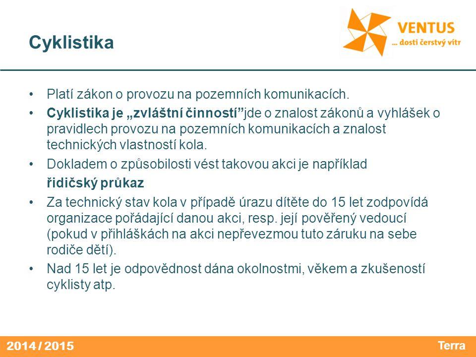 2014 / 2015 Cyklistika Platí zákon o provozu na pozemních komunikacích.