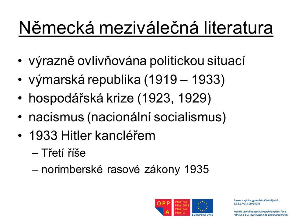Německá meziválečná literatura výrazně ovlivňována politickou situací výmarská republika (1919 – 1933) hospodářská krize (1923, 1929) nacismus (nacionální socialismus) 1933 Hitler kancléřem –Třetí říše –norimberské rasové zákony 1935