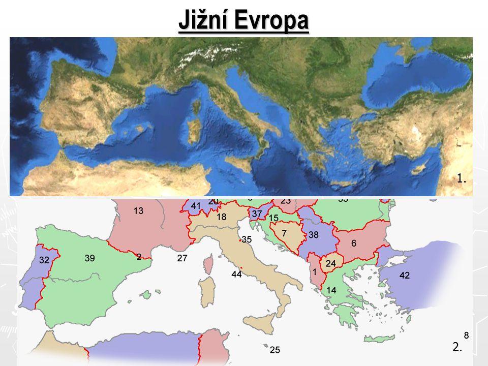 Povrch pohoří – ( Pyreneje – Šp., Alpy – sever It., Apeniny – It., Pindos - Řec.) nížiny – Pádská, Andaluská Podnebí – subtropický podnební pás → léto je teplé a suché, zima deštivá Vodstvo – řeky – dostatek vody v zimě, krátké Pád, Tajo, Ebro Hospodářství – jsou členy EU, nejvyspělejší It.