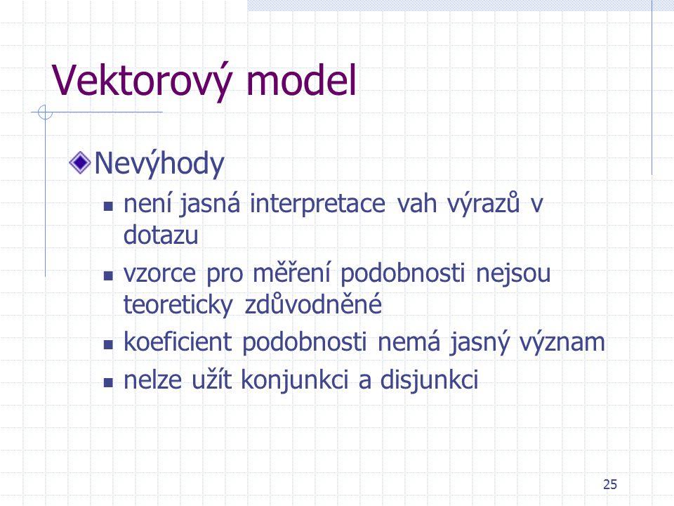 25 Vektorový model Nevýhody není jasná interpretace vah výrazů v dotazu vzorce pro měření podobnosti nejsou teoreticky zdůvodněné koeficient podobnosti nemá jasný význam nelze užít konjunkci a disjunkci