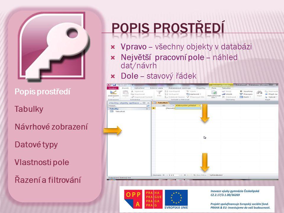  Vpravo – všechny objekty v databázi  Největší pracovní pole – náhled dat/návrh  Dole – stavový řádek Popis prostředí Tabulky Návrhové zobrazení Datové typy Vlastnosti pole Řazení a filtrování
