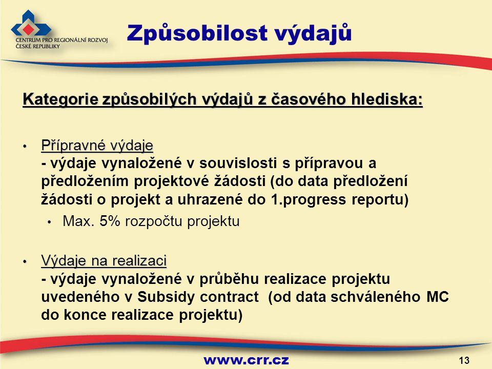 13 Způsobilost výdajů Kategorie způsobilých výdajů z časového hlediska: Přípravné výdaje Přípravné výdaje - výdaje vynaložené v souvislosti s přípravou a předložením projektové žádosti (do data předložení žádosti o projekt a uhrazené do 1.progress reportu) Max.