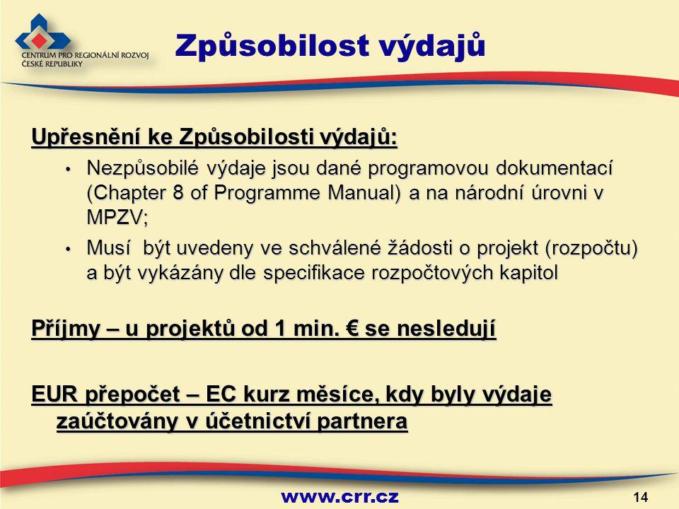 www.crr.cz 14 Způsobilost výdajů Upřesnění ke Způsobilosti výdajů: Nezpůsobilé výdaje jsou dané programovou dokumentací (Chapter 8 of Programme Manual) a na národní úrovni v MPZV; Nezpůsobilé výdaje jsou dané programovou dokumentací (Chapter 8 of Programme Manual) a na národní úrovni v MPZV; Musí být uvedeny ve schválené žádosti o projekt (rozpočtu) a být vykázány dle specifikace rozpočtových kapitol Musí být uvedeny ve schválené žádosti o projekt (rozpočtu) a být vykázány dle specifikace rozpočtových kapitol Příjmy – u projektů od 1 min.