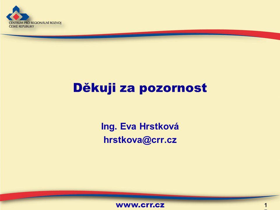 www.crr.cz Děkuji za pozornost Ing. Eva Hrstková hrstkova@crr.cz 17