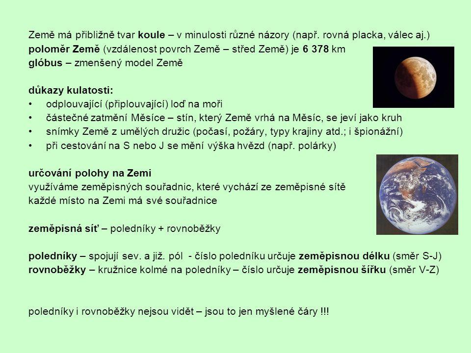 Země má přibližně tvar koule – v minulosti různé názory (např. rovná placka, válec aj.) poloměr Země (vzdálenost povrch Země – střed Země) je 6 378 km