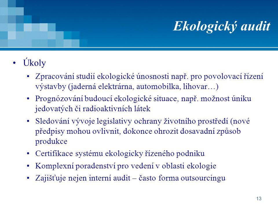 13 Ekologický audit Úkoly Zpracování studií ekologické únosnosti např. pro povolovací řízení výstavby (jaderná elektrárna, automobilka, lihovar…) Prog
