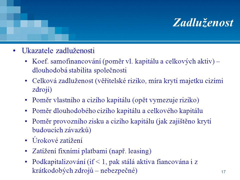17 Zadluženost Ukazatele zadluženosti Koef. samofinancování (poměr vl.