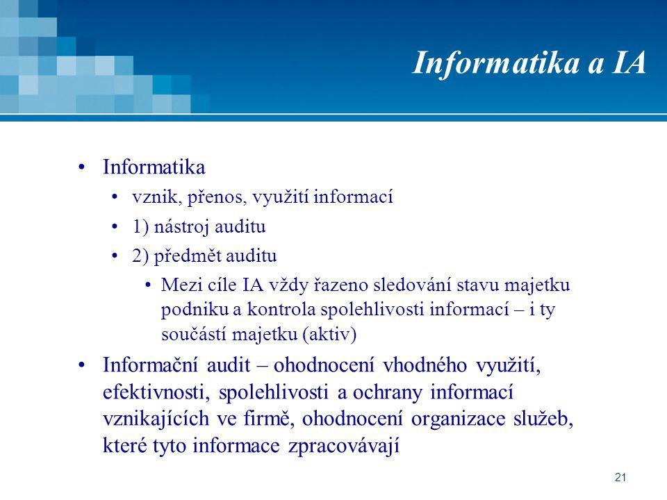 21 Informatika a IA Informatika vznik, přenos, využití informací 1) nástroj auditu 2) předmět auditu Mezi cíle IA vždy řazeno sledování stavu majetku podniku a kontrola spolehlivosti informací – i ty součástí majetku (aktiv) Informační audit – ohodnocení vhodného využití, efektivnosti, spolehlivosti a ochrany informací vznikajících ve firmě, ohodnocení organizace služeb, které tyto informace zpracovávají