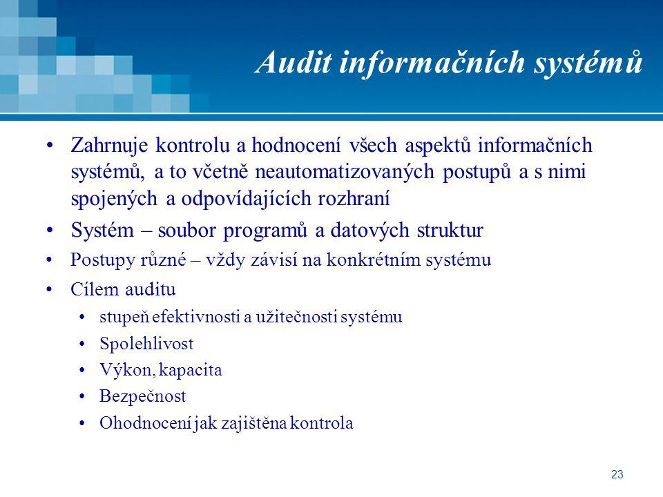 23 Audit informačních systémů Zahrnuje kontrolu a hodnocení všech aspektů informačních systémů, a to včetně neautomatizovaných postupů a s nimi spojených a odpovídajících rozhraní Systém – soubor programů a datových struktur Postupy různé – vždy závisí na konkrétním systému Cílem auditu stupeň efektivnosti a užitečnosti systému Spolehlivost Výkon, kapacita Bezpečnost Ohodnocení jak zajištěna kontrola